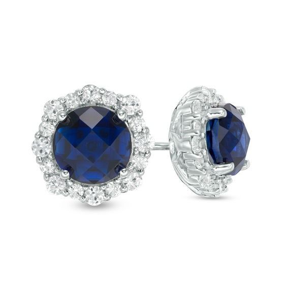 Zales 6.0mm Lab-Created Blue and White Sapphire Frame Stud Earrings in 10K White Gold HIQMCD5d