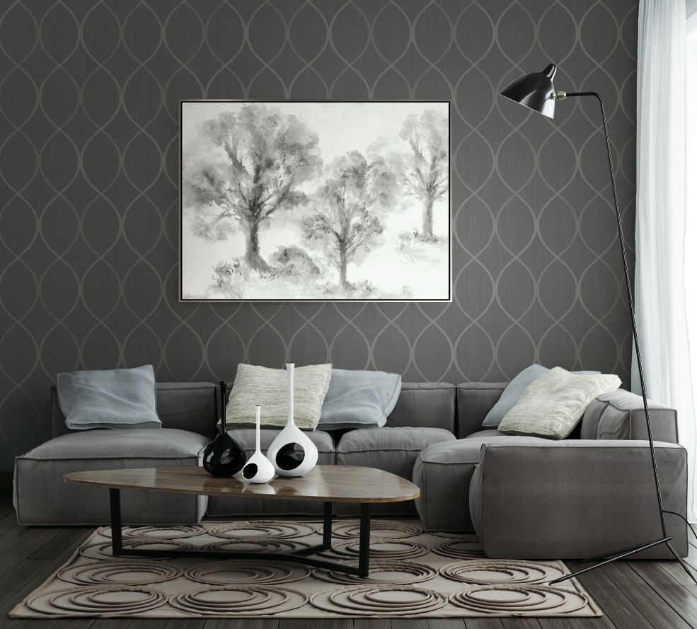 Contemporary Living Room Featuring Grey Swirl Ogee Wallcoverin
