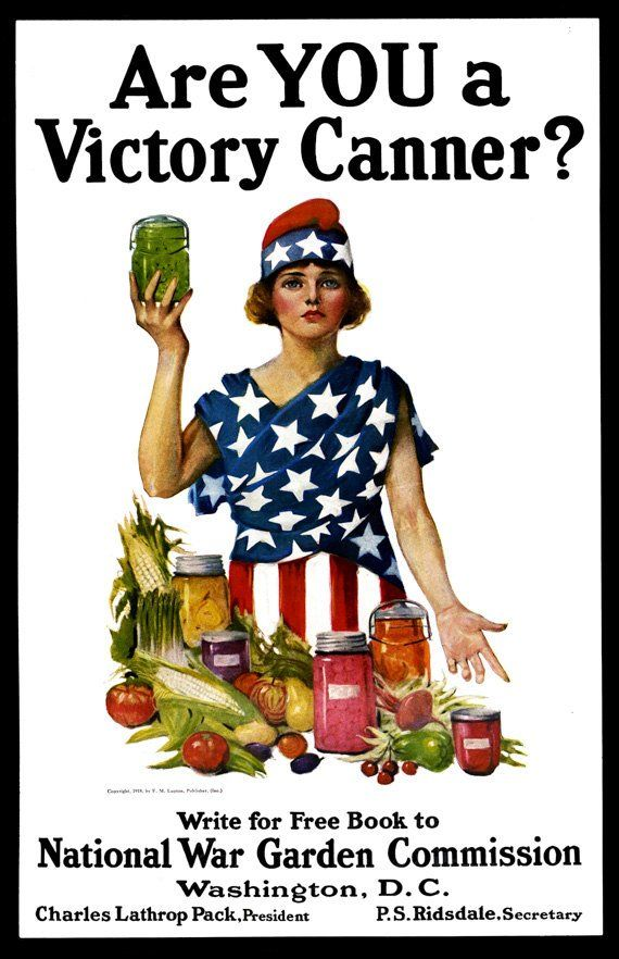 Photo of Are YOU A Victory Canner? – Vintage Poster Reproduction – Lady Liberty With Canned and Fresh Foods, Patriotic Dress