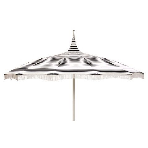 Ari Pagoda Fringe Patio Umbrella Navy White Patio Umbrella