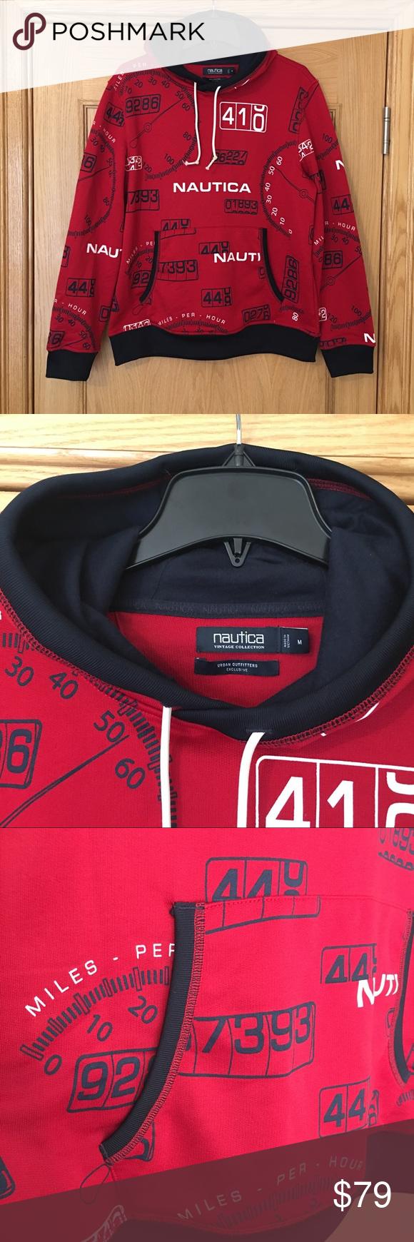 Nautica Vintage Collection Speedometer Hoodie Sz M Vintage Collection Red Sweatshirt Hoodie Hoodies