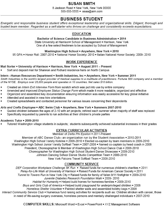 resume examples of extracurricular activities