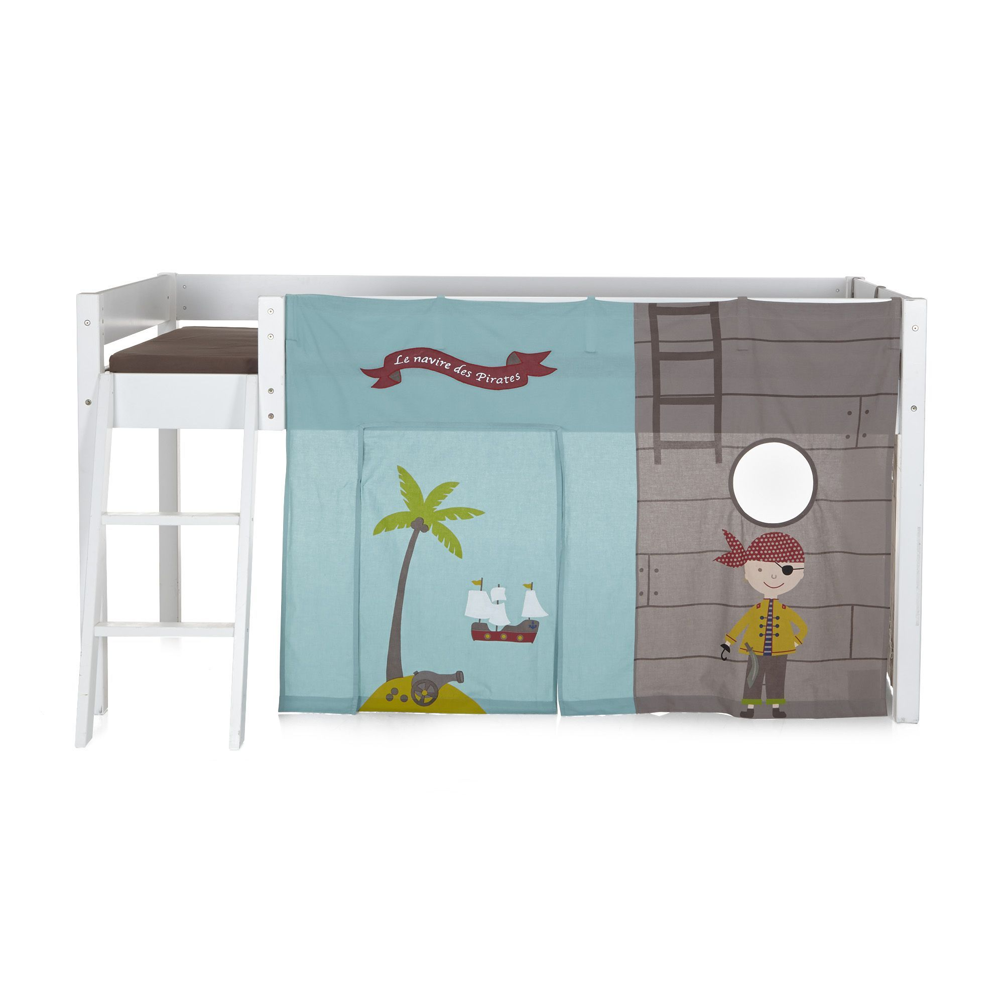 tente pour lit d 39 enfant mi haut multicolore pirate les. Black Bedroom Furniture Sets. Home Design Ideas
