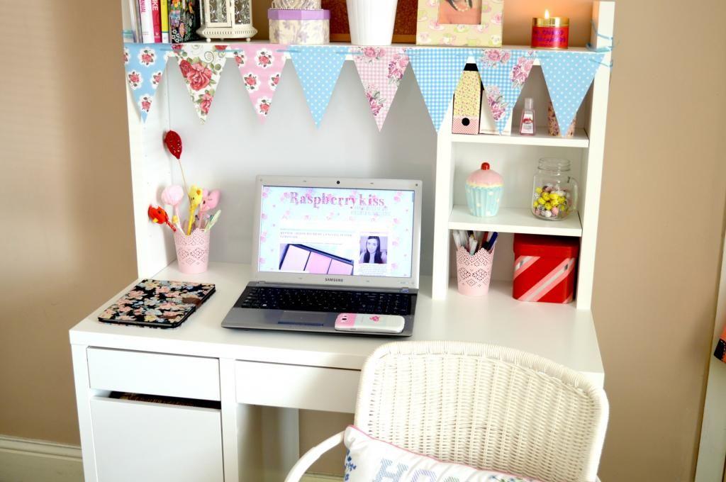 My Vintage Floral Inspired Work And Blogging Area Raspberrykiss Micke Desk Ikea Micke Desk Room Diy