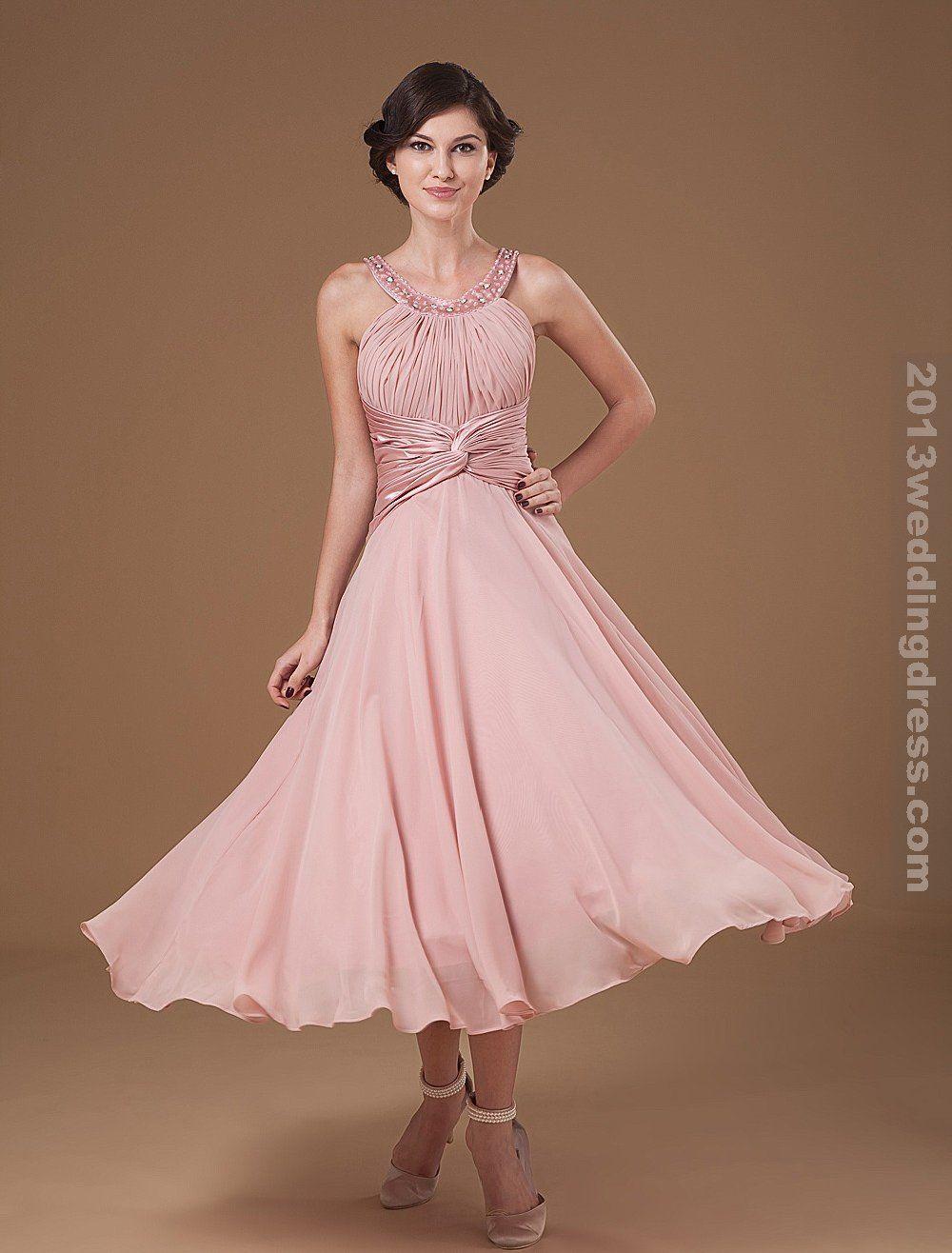Tea Length Mother Groom Dresses | ... Ruffle Halter Beading Tea ...