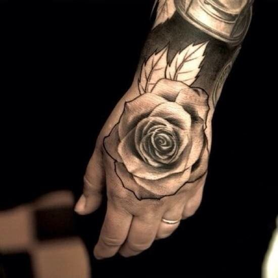 Black Hand Tattoo Of A Rose On A Man Hand Tattoos For Guys Hand Tattoos Tattoos For Guys