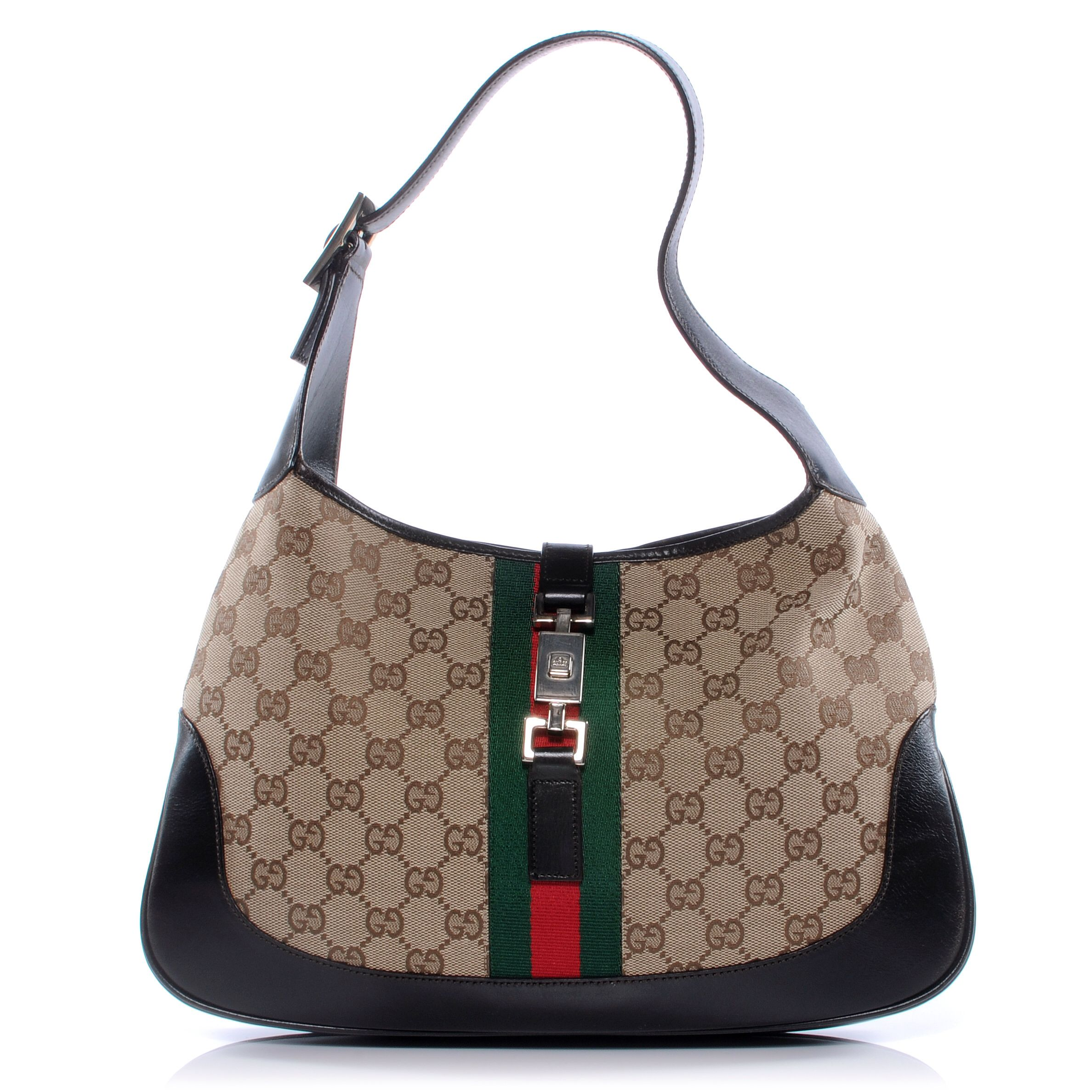 eadebdf28894 This is an authentic GUCCI Monogram Jackie O Hobo. A structured hobo  crafted of traditional brown on beige Gucci GG canvas. features  complimentary chocolate ...