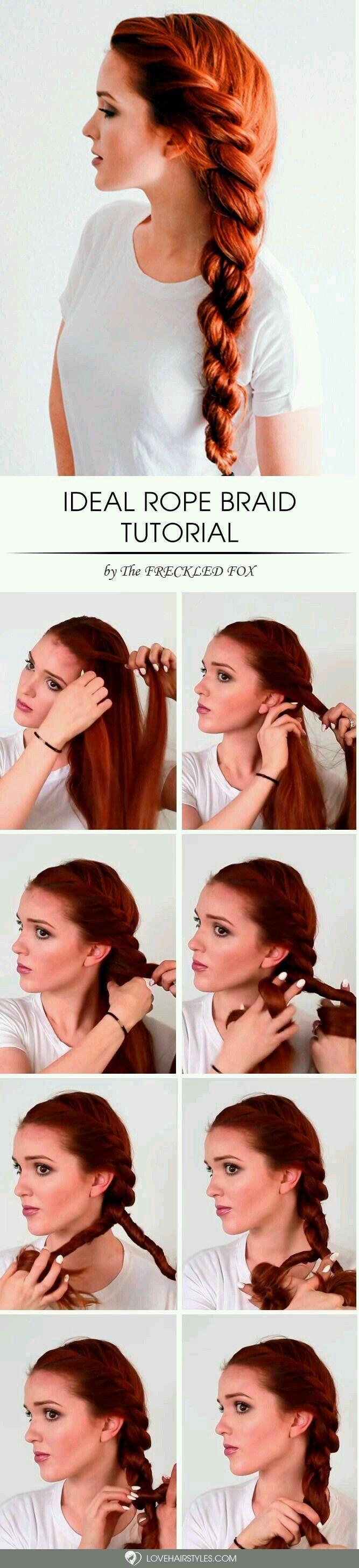 Rope braid hair tutorial roll pinterest braid hair tutorials