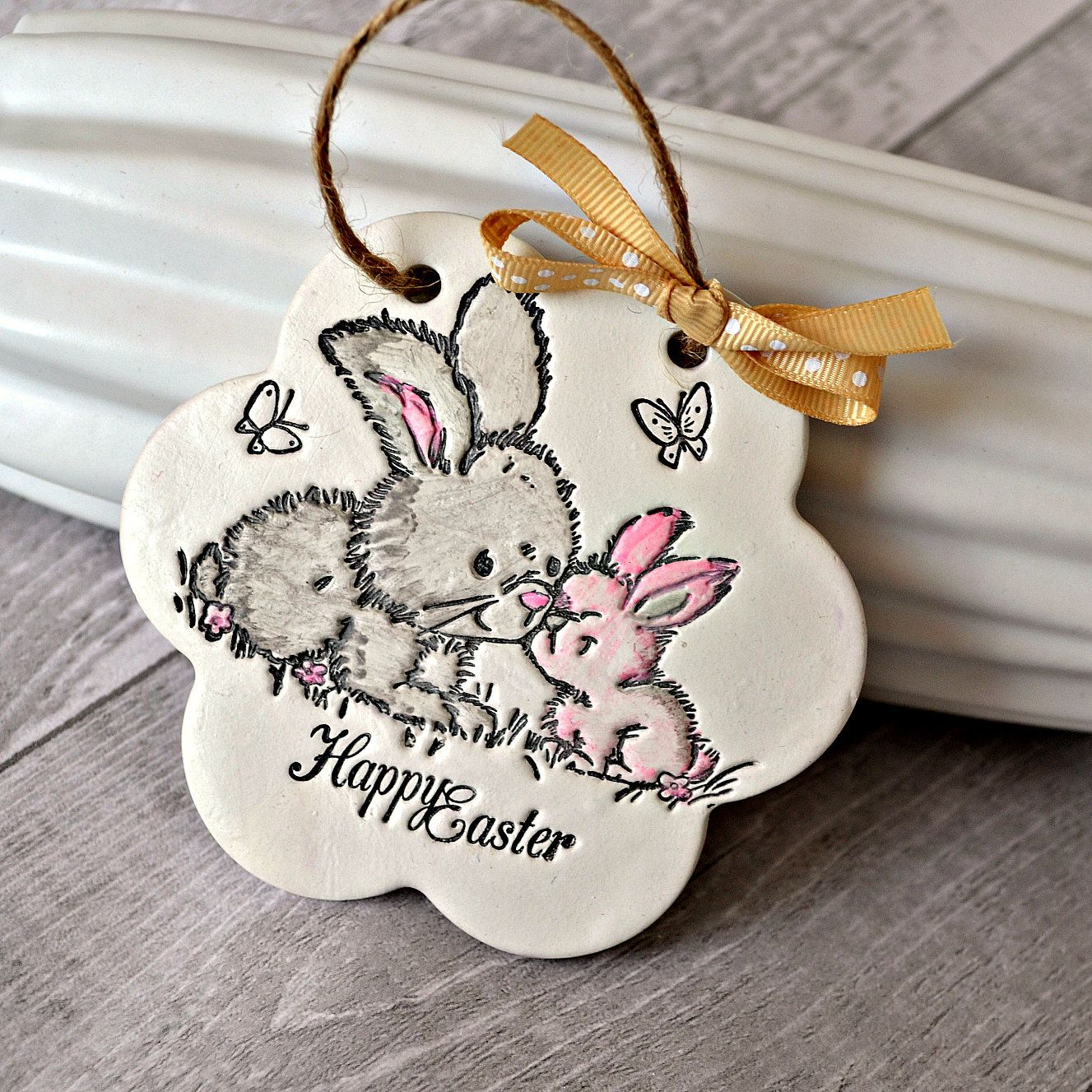 Happy easter gifts easter decoration clay ornament with easter happy easter gifts easter decoration clay ornament with easter bunnies easter card alternative easter negle Choice Image