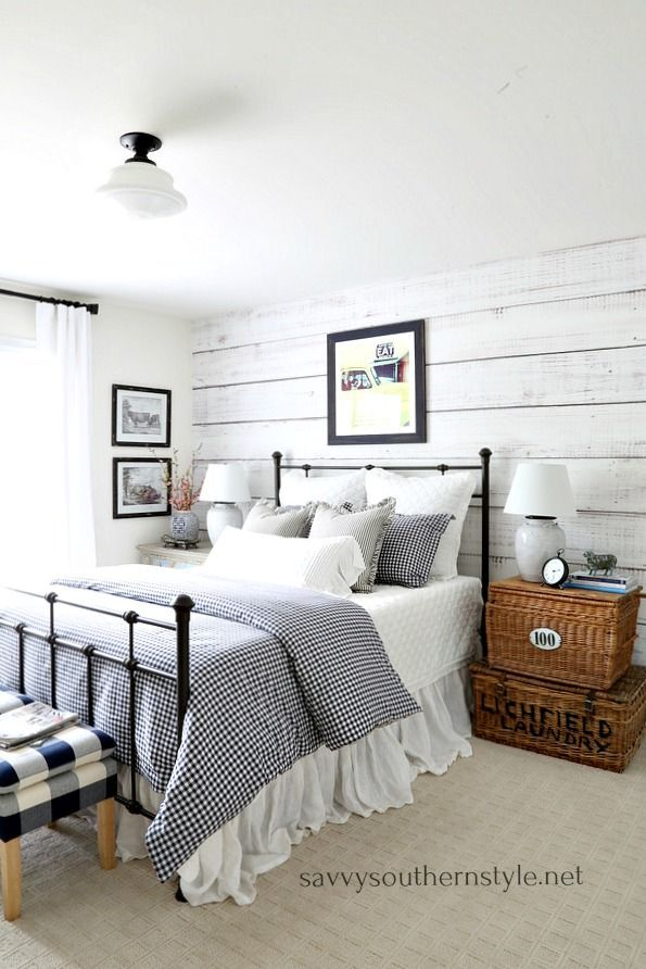 Southern Farmhouse Bedroom Ideas: Gingham And Ticking Farmhouse Style Bedroom Without
