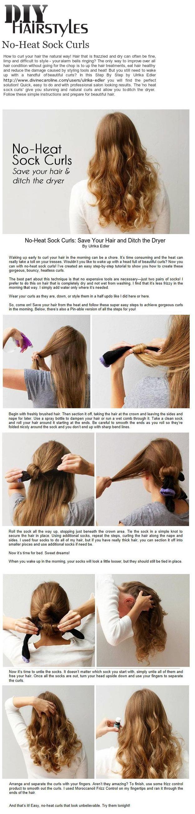 DIY Hairstyles No-Heat Sock Curls #sockcurls