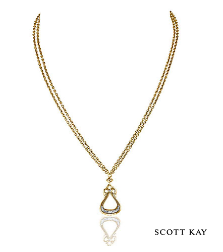 """Scott Kay Ladies Vermeil 18"""" Guardian Necklace with White Sapphire (Product Style: N3796VPAWS18) #ScottKay #LadiesFashion"""