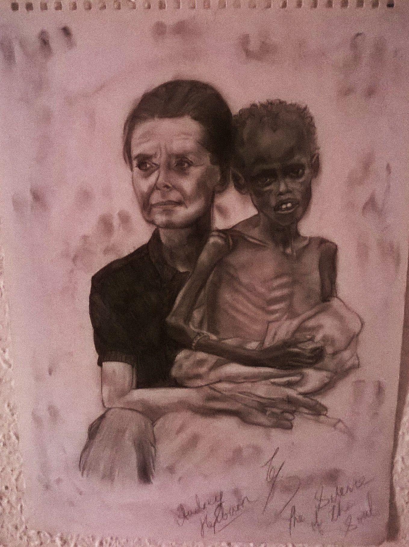 A Sketch of an older Audrey Hepburn with one of the