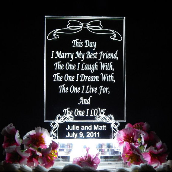 """Design Your Own Wedding Cake: Design """"Your Own"""" Personalized LIGHTED Wedding Cake Topper"""