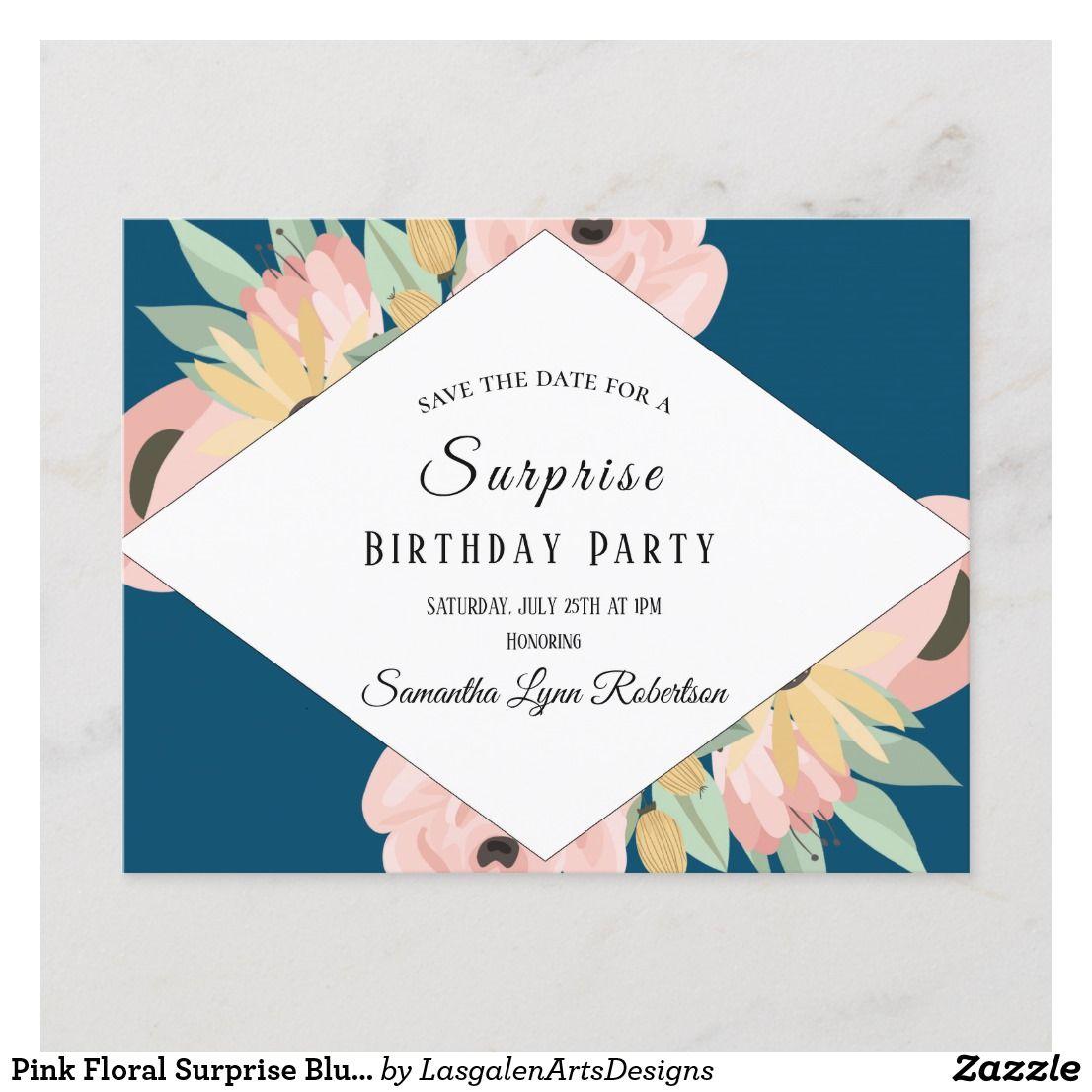 Pink Floral Surprise Blue Surprise Birthday Invitation