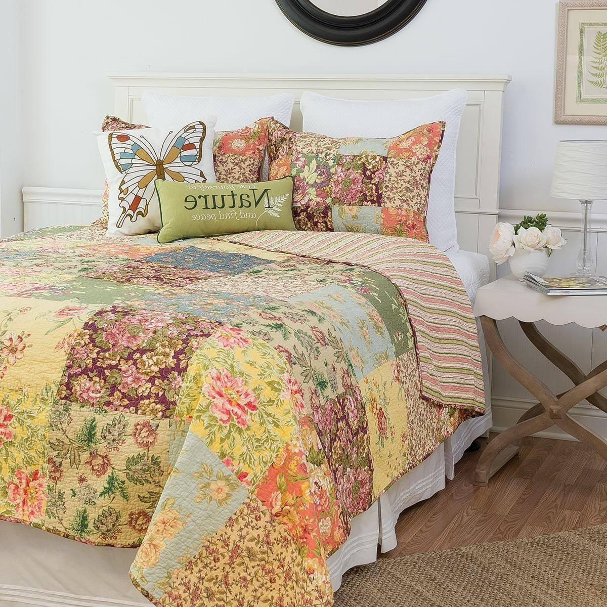 JC Penney Vintage Double Flat Sheet Purple Blue Mod Floral Spring Cottage Shabby Chic Vintage Bedding Dorm Girls Room