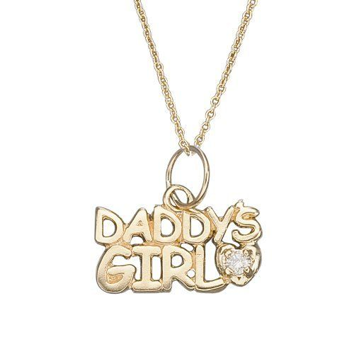 14k Gold Daddys Girl with Genuine Diamond Childrens Necklace 16
