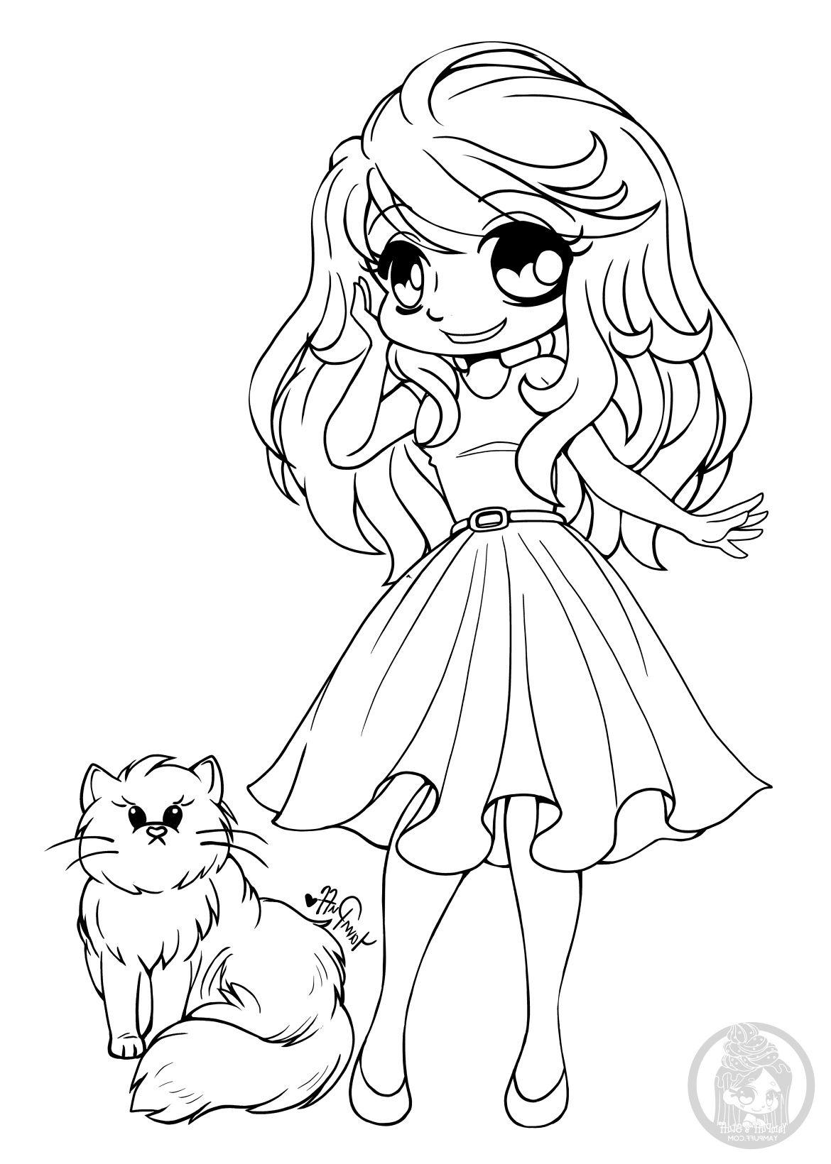 Image manga fille pour colorier chibi par YamPuff  Coloriage