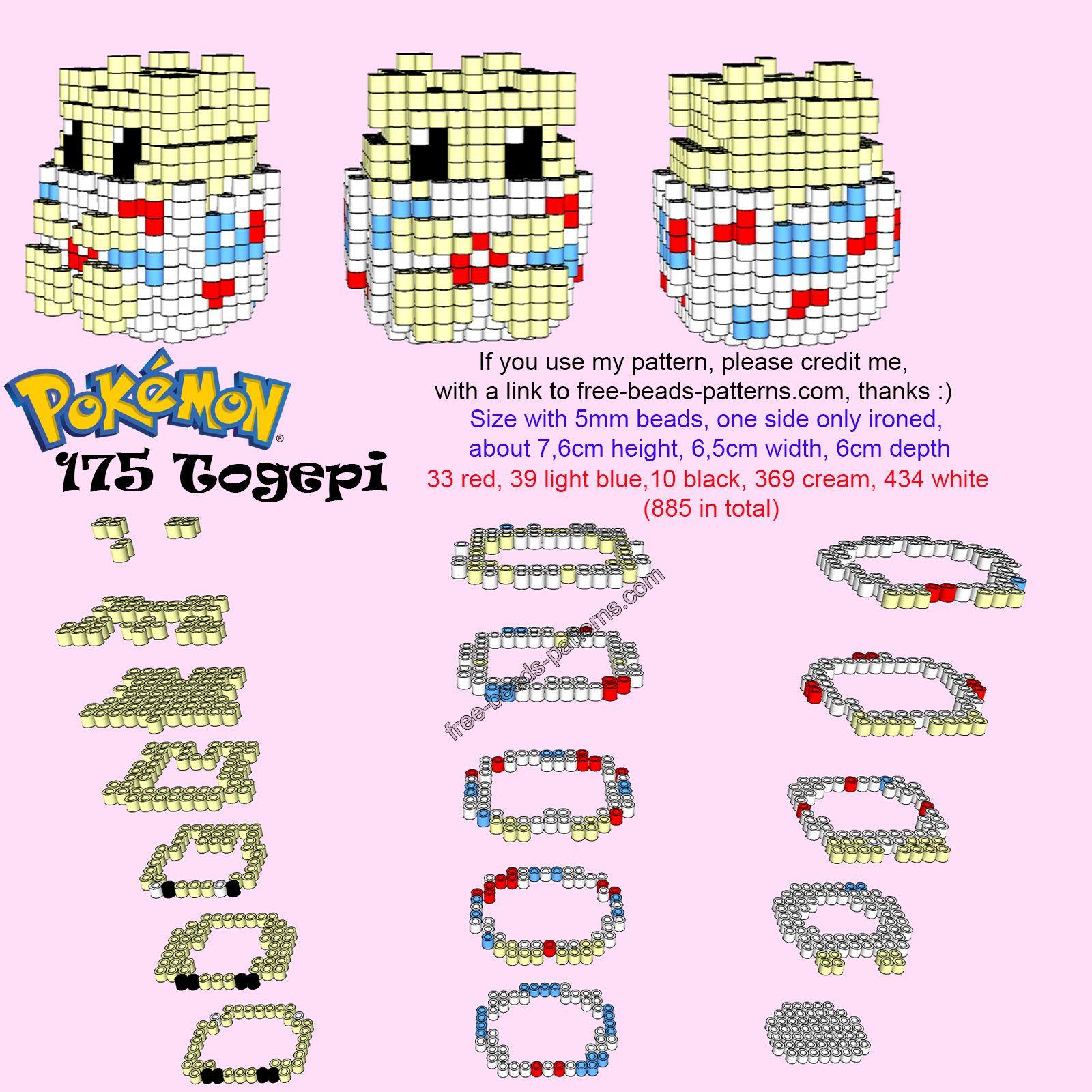 Pokemon Togepi free 3D Hama Beads Perler Artkal pattern tutorial