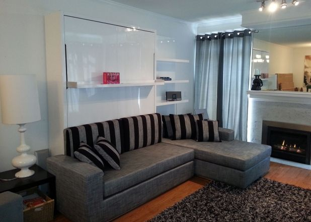 Murphy Bed With Couch Exquisite Trendy L Shaped And Stripes Cushions Idea Feat Modern Wall Mount Fireplace