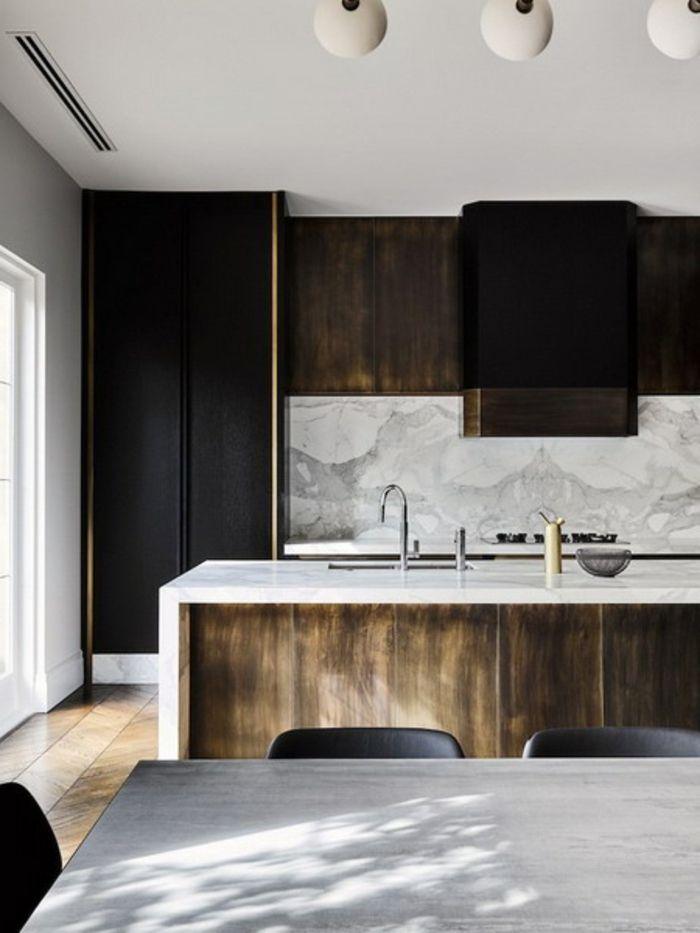 cuisine gris et bois design de cuisine contemporain ilot avec un