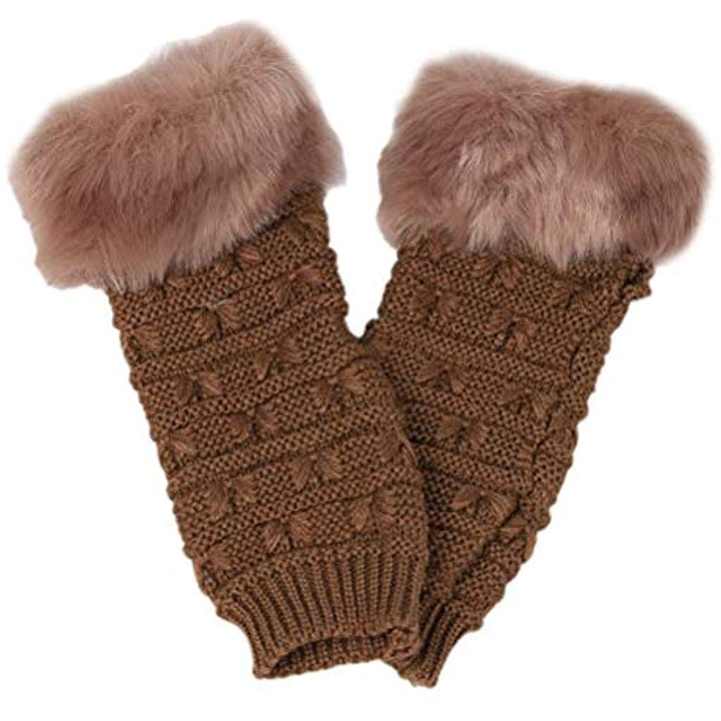 92373a28d69545 TENDYCOCO Frauen Kunstfell Fingerlose Handschuhe gestrickt Handwärmer  Winter Handschuh Handschuhe Khaki #handschuheenglisch #handschuhe #