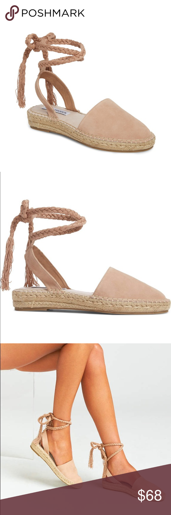 """32122be002b Steve Madden Mesa Wraparound Espadrille Color is """"nude suede"""". Size ..."""