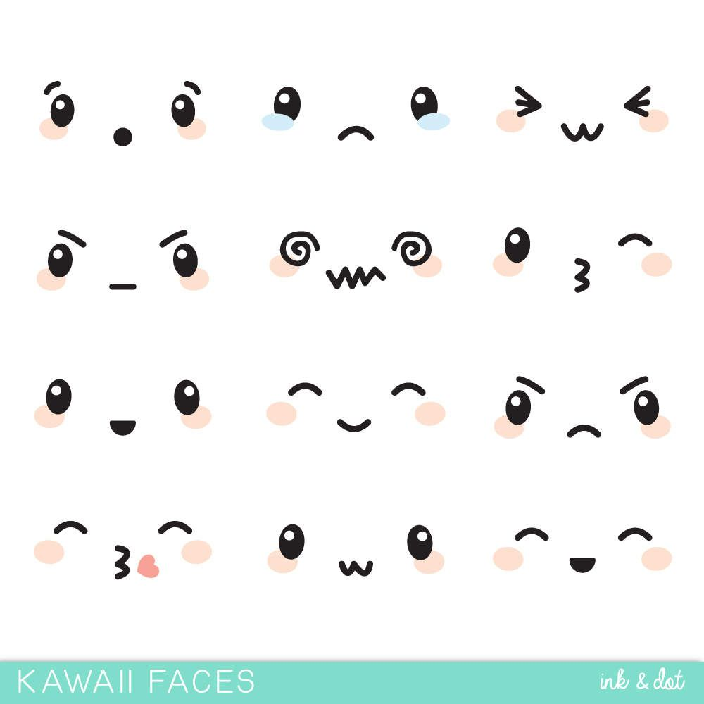 Kawaii Faces Clip Art Cute Face Expressions Japanese Anime Adorable Sticker Emotions Mood Commercial Personal Use Anime Faces Expressions Kawaii Faces Face Expressions