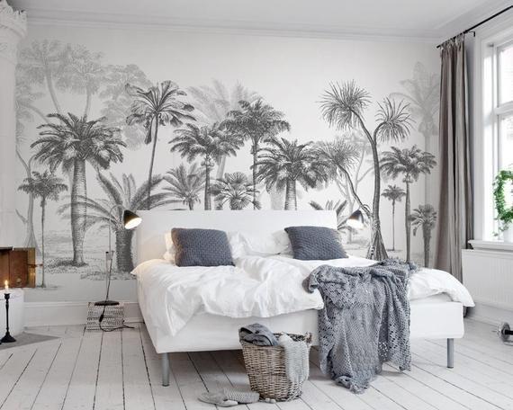 3D noir blanc abstrait Palm Forest fond décran amovible, peler et coller murale, floral, art mural, sticker mural, enfants, chambre denfant, sticker mural 14
