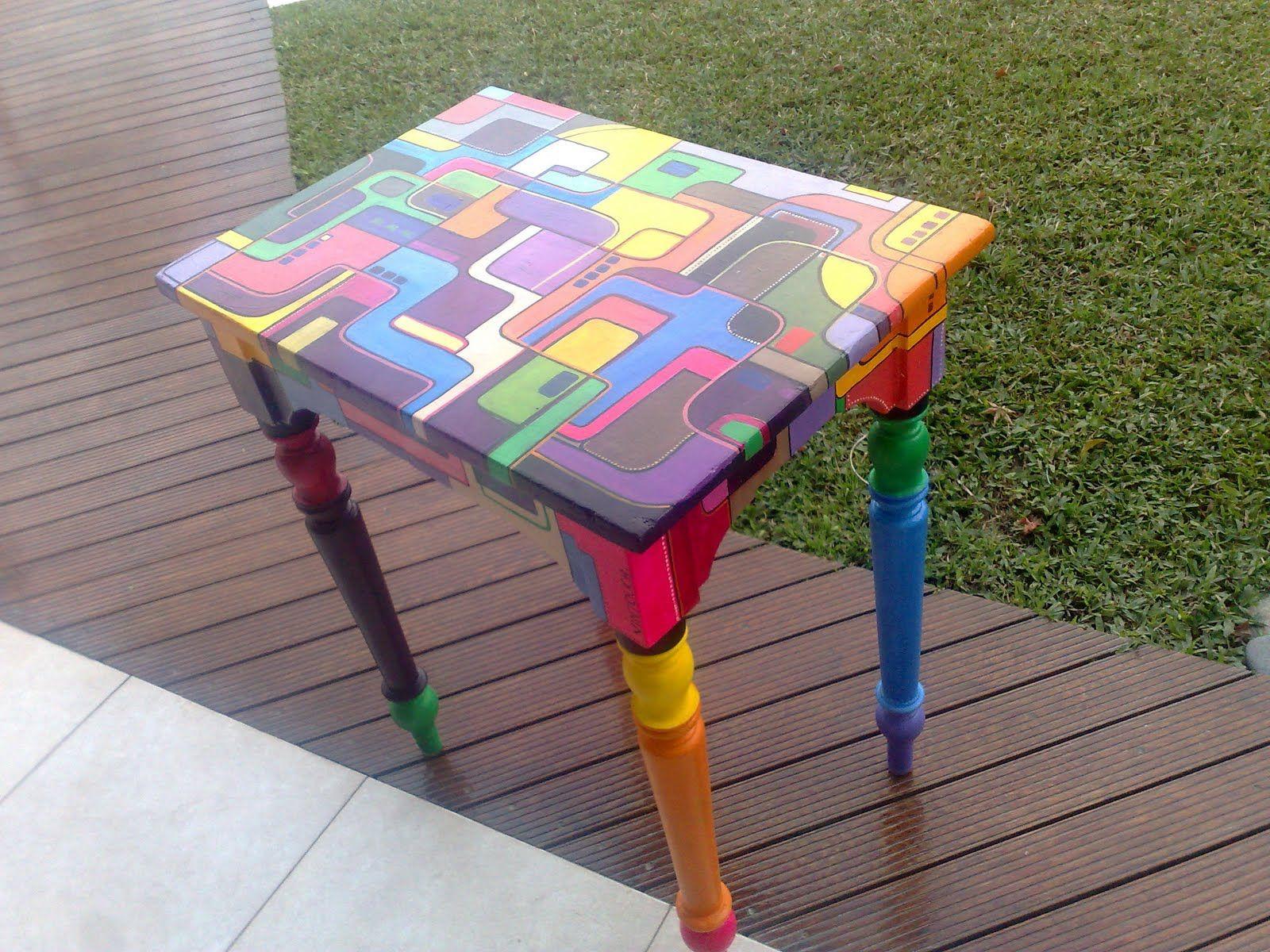 Mesa de campo integramente pintada a mano vintouch - Mesas de campo ...