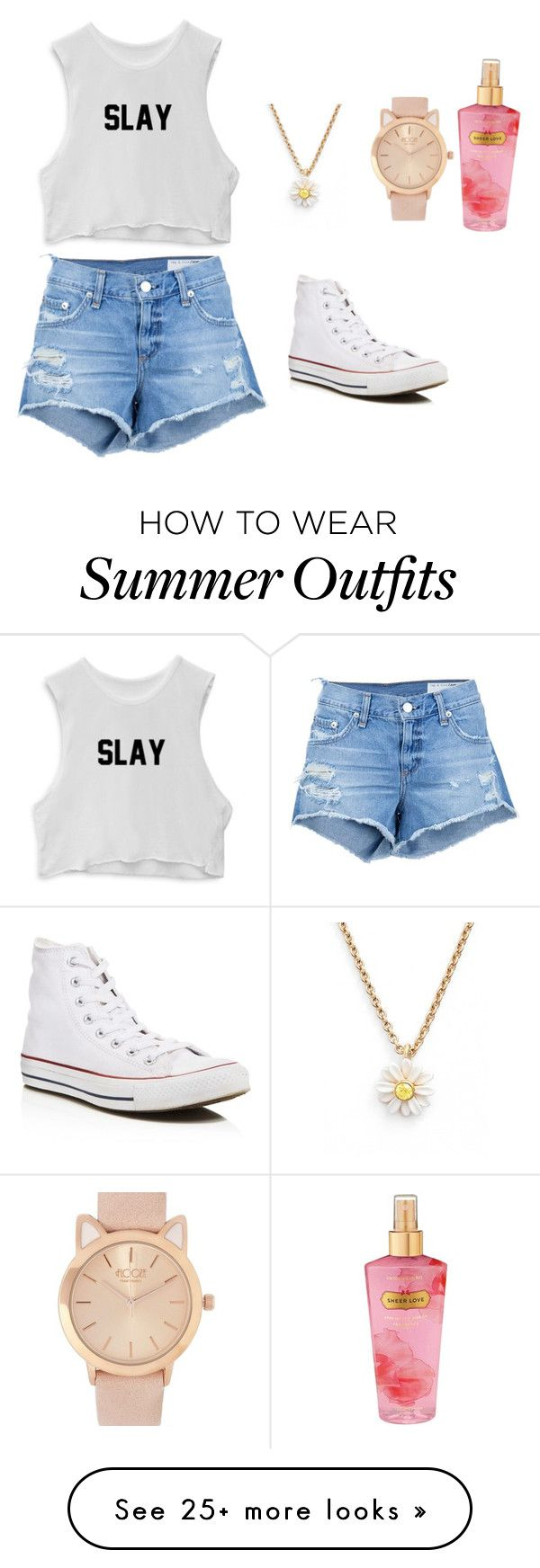 """""""Summer outfits"""" by bess-cram on Polyvore featuring rag & bone/JEAN, Converse, Victoria's Secret and Kate Spade"""