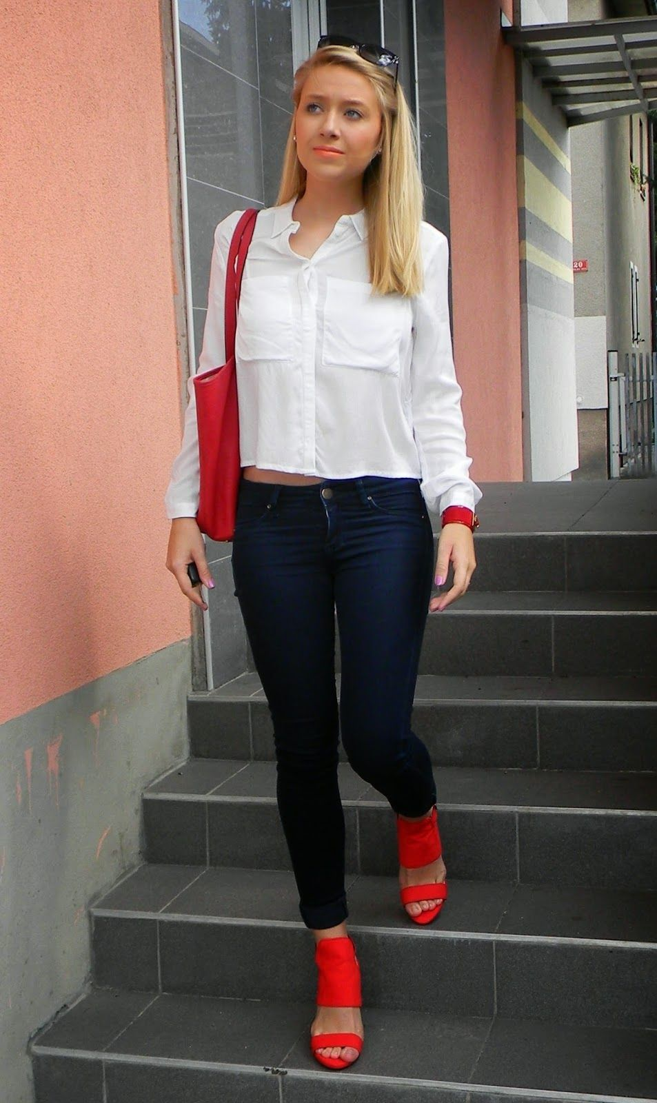 Women's White Dress Shirt, Navy Skinny Jeans, Red Suede Heeled ...
