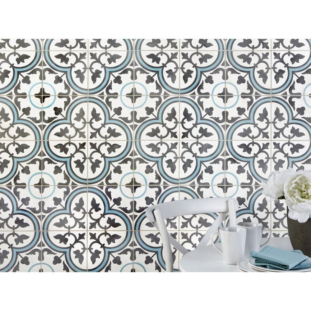 Equilibrio Blue Ii Encaustic Cement Tile Cement Tile Encaustic Cement Tile Contemporary Tile