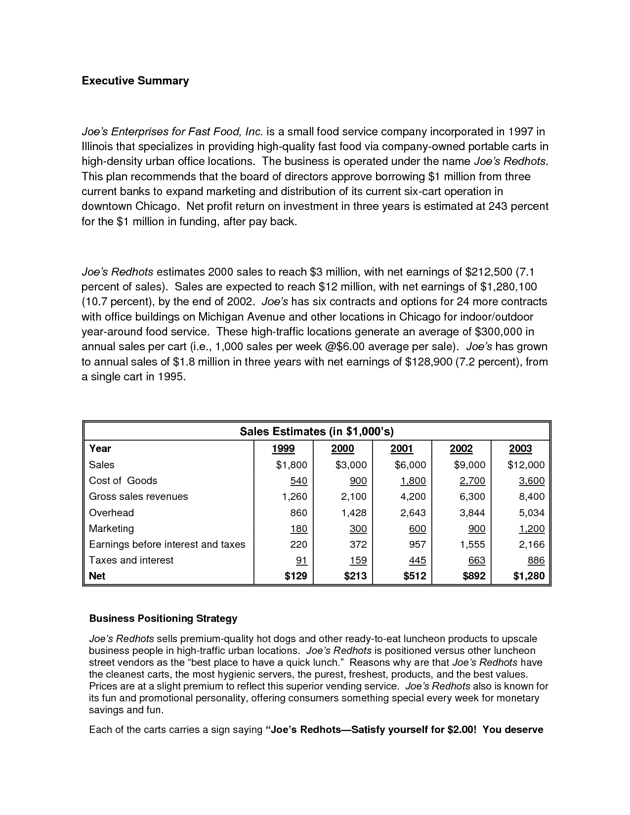 Printable Sample Business Plan Sample Form Generic Form
