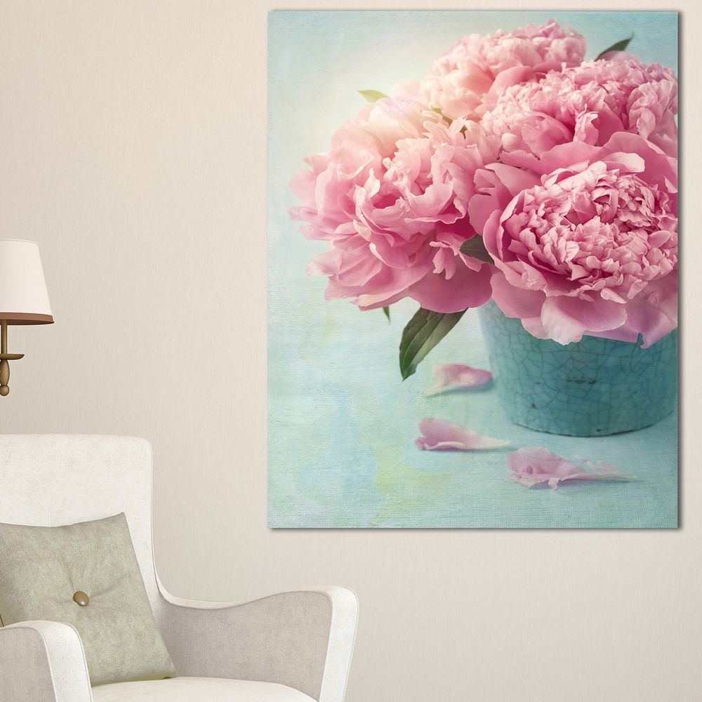Pink Peony Flowers in Vase - Large Floral Wall Art Canvas | pictures ...