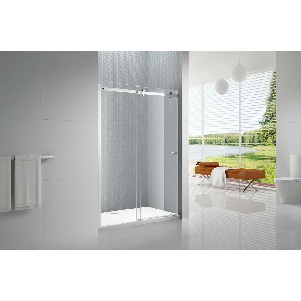Amluxx Primo 48 in. x 72 in. Frameless Sliding Shower Door in Chrome with 6 mm Clear Glass-PRIMO-6-48 #framelessslidingshowerdoors