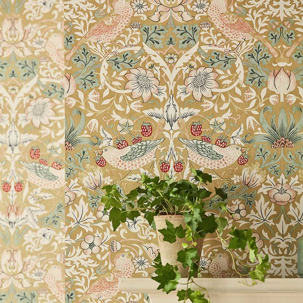 Strawberry Thief by Morris Gold Wallpaper 216751