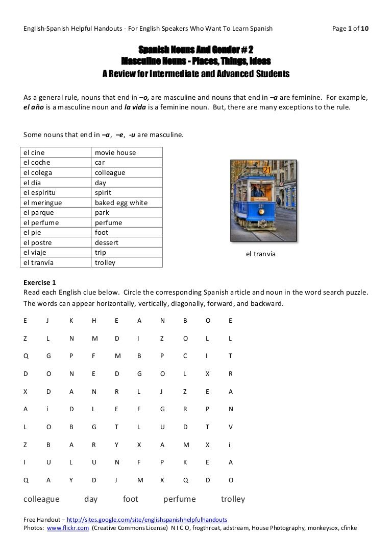Workbooks weather expressions in spanish worksheets : spanish-nouns-and-gender-2 by Susan Watson via Slideshare | Places ...
