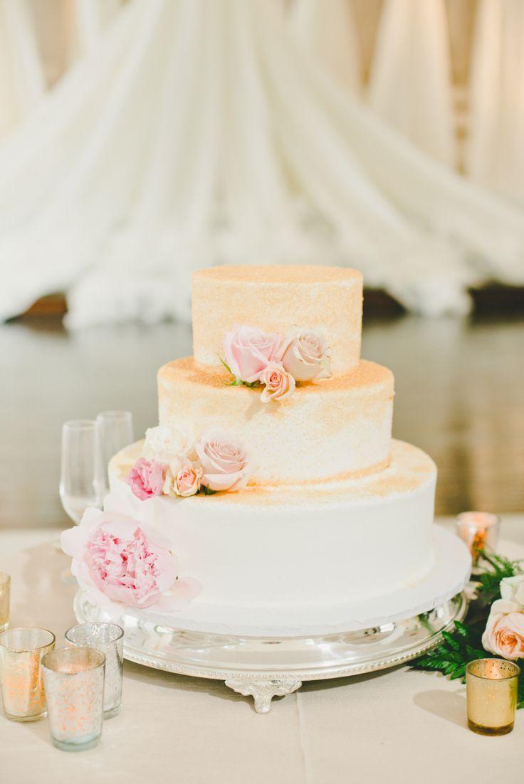 Wedding cakes three tier peach ombre wedding cake floral design
