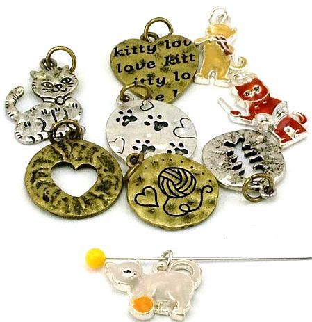 9 Cat Theme Charms And Beads 2 Hole Beads by MobileBoutiqueshop