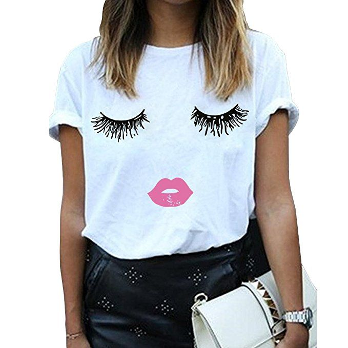 Image result for BLACKMYTH Women Summer Funny Print Short Sleeve Top Tee Graphic Cute T-shirt