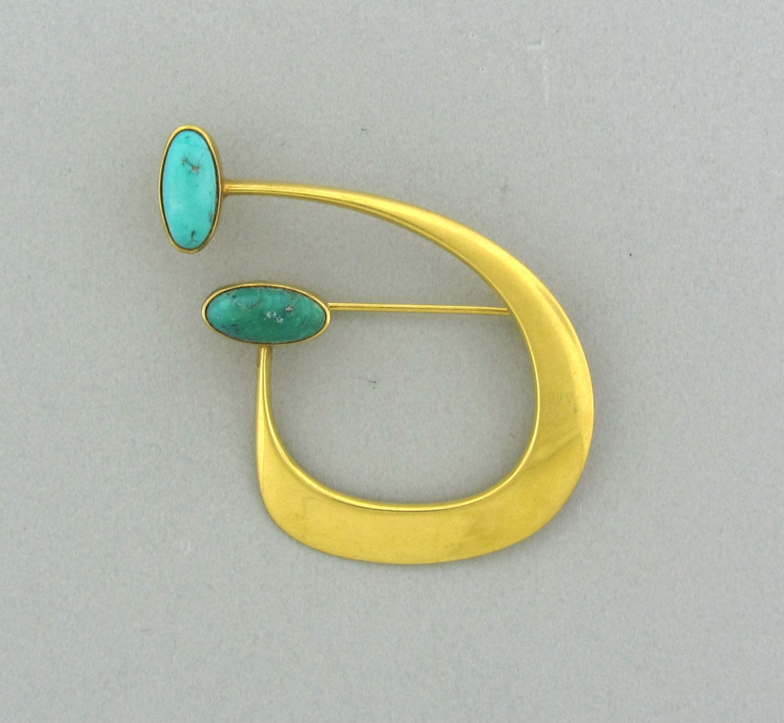 Bent Gabrielsen Denmark gold and turquoise brooch 1960s
