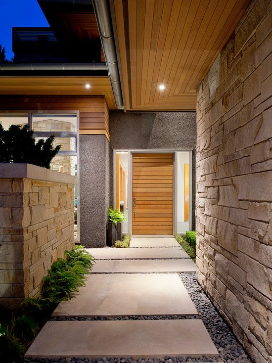 Contemporary House Entrance Design: Front Doors, Ceiling And Concrete Walkway