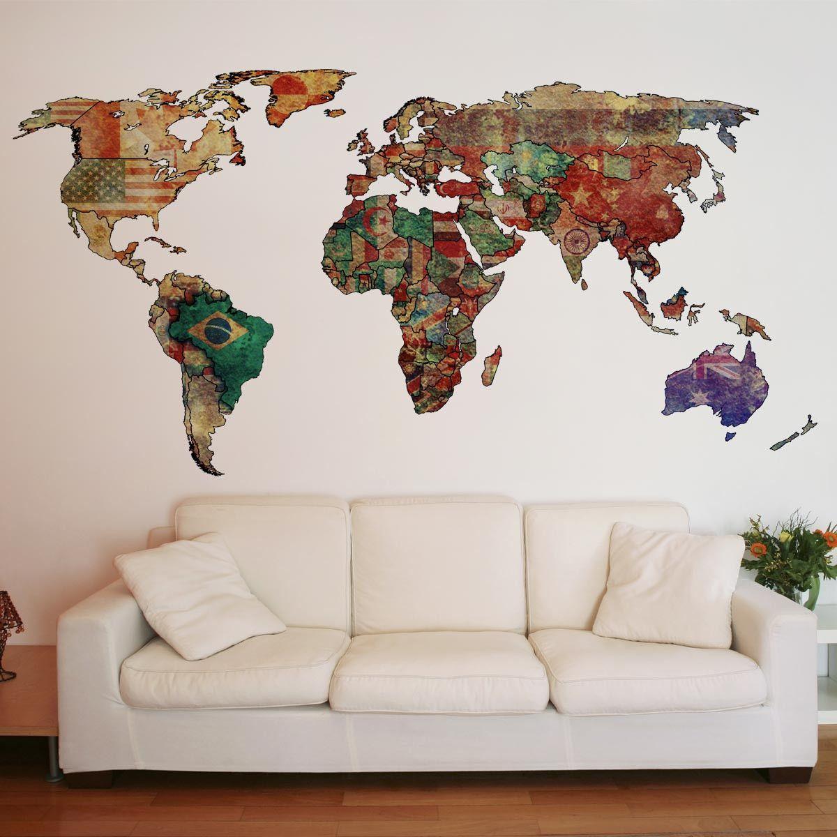 Adesivo de Parede Mapa Mundi | igreja | Pinterest