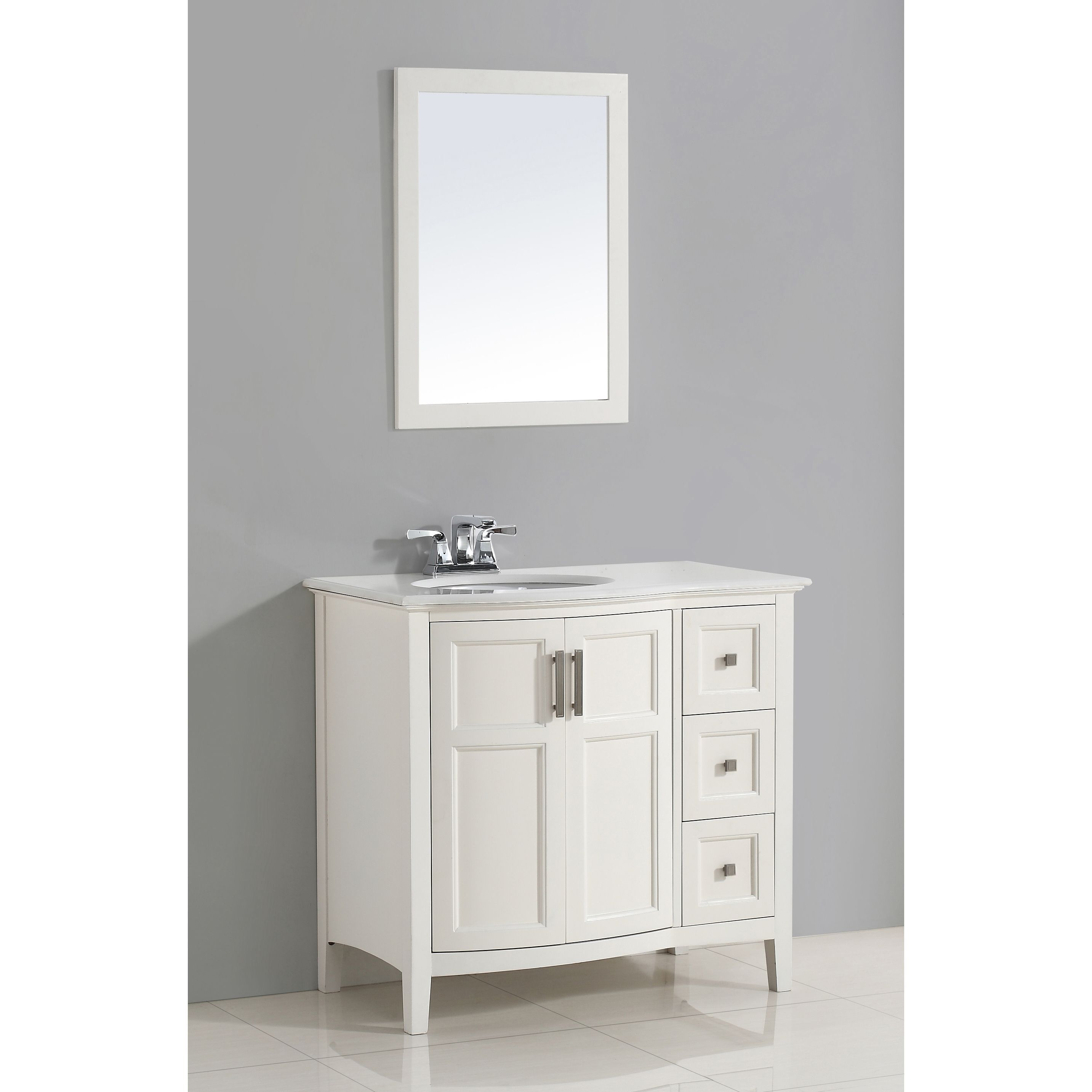 Bathroom Vanity Doors wyndenhall salem white 36-inch rounded front bath vanity set with
