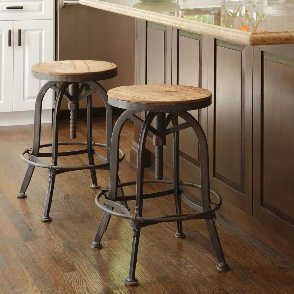 Akron Round Stool Farmhouse Bar Stools Adjustable Bar Stools