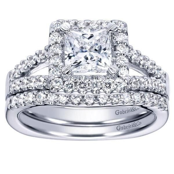 145cttw princess cut halo split shank diamond engagement ring with prong set side diamonds - Wedding Ring Princess Cut