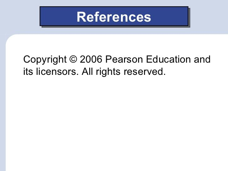 ReferencesCopyright © 2006 Pearson Education andits licensors. All rights reserved.