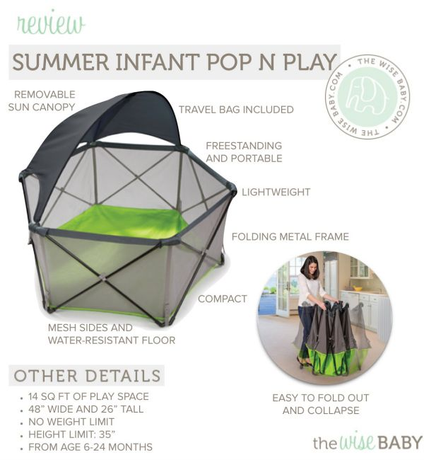 Pop N Play Summer Infant Portable Playard Canopy Kids Baby Child Outdoor Pen Sun