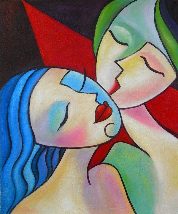 Peinture moderne, huile sur toile, montée